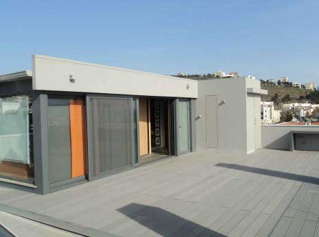 roof terrace deck with grey wpc